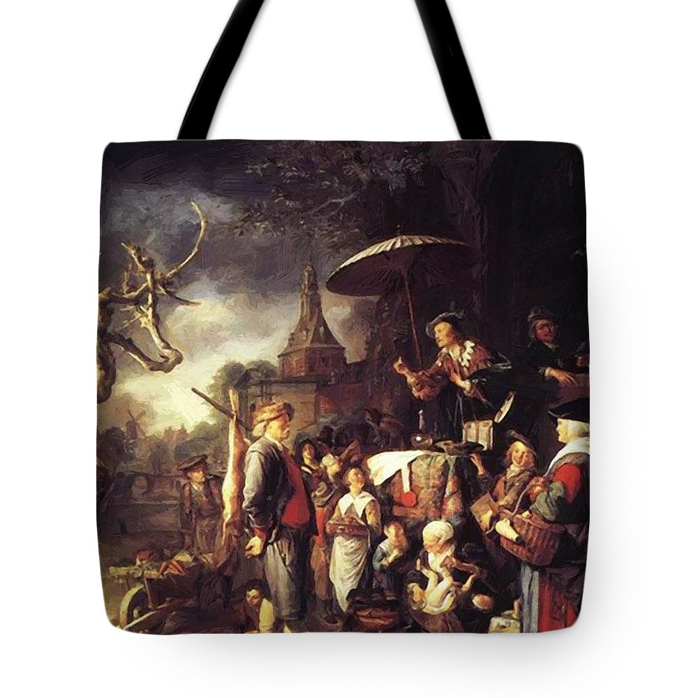 The Tote Bag featuring the painting The Quack 1652 by Dou Gerrit