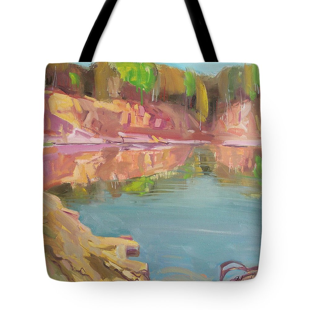 Oil Tote Bag featuring the painting The Quarry by Sergey Ignatenko