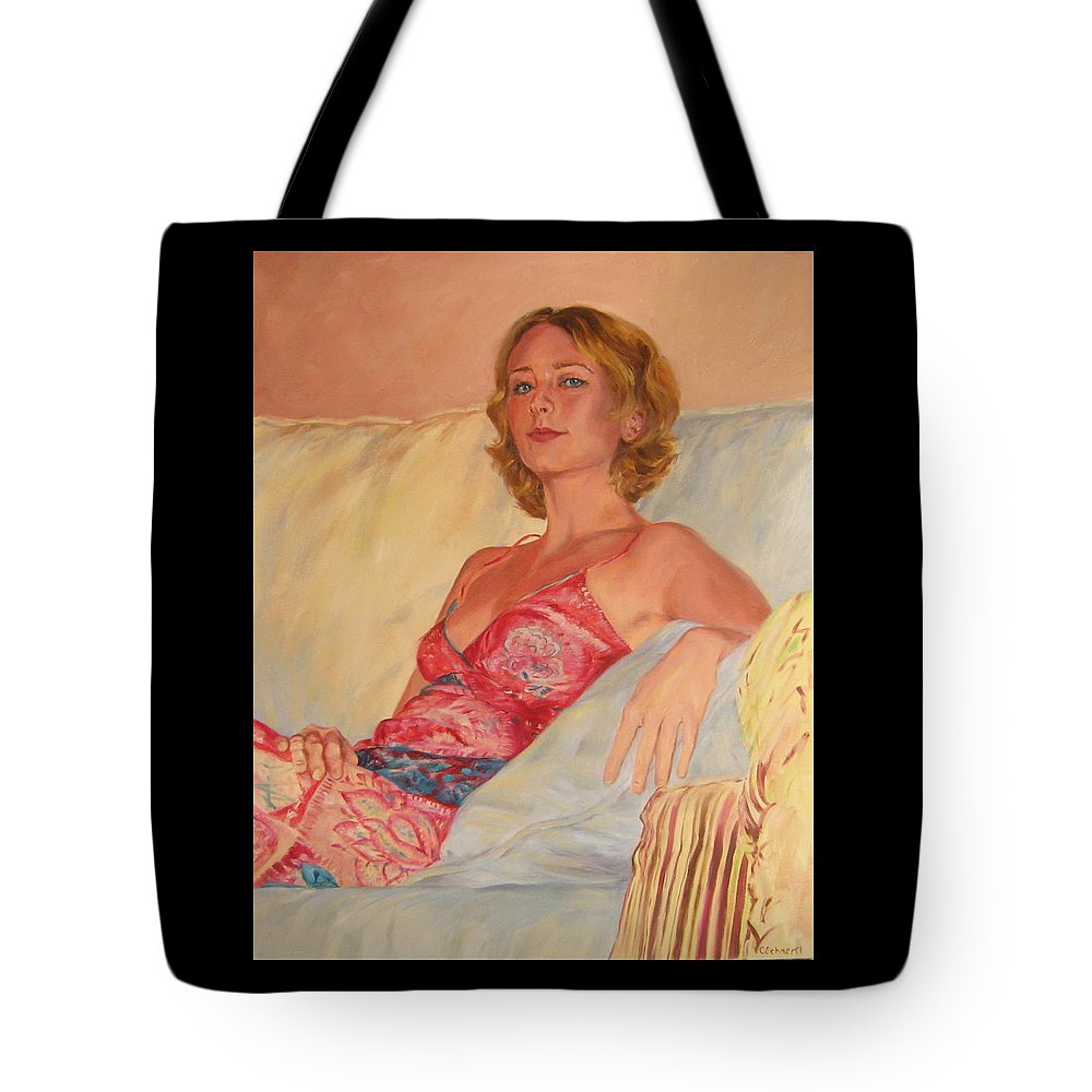 Portrait Tote Bag featuring the painting The Queen At Her Ease by Connie Schaertl