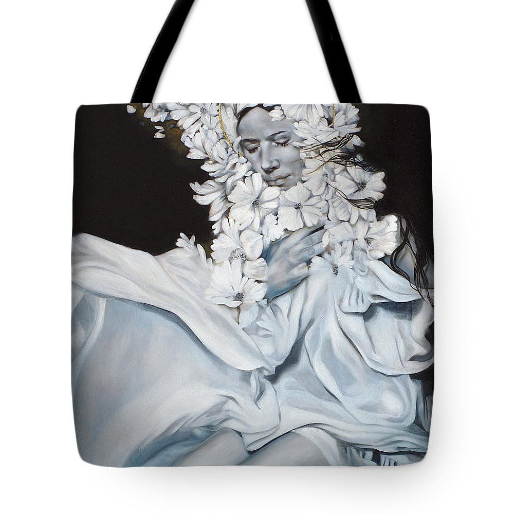 Woman Tote Bag featuring the painting The Quintessence Of Matter by Patricia Ariel