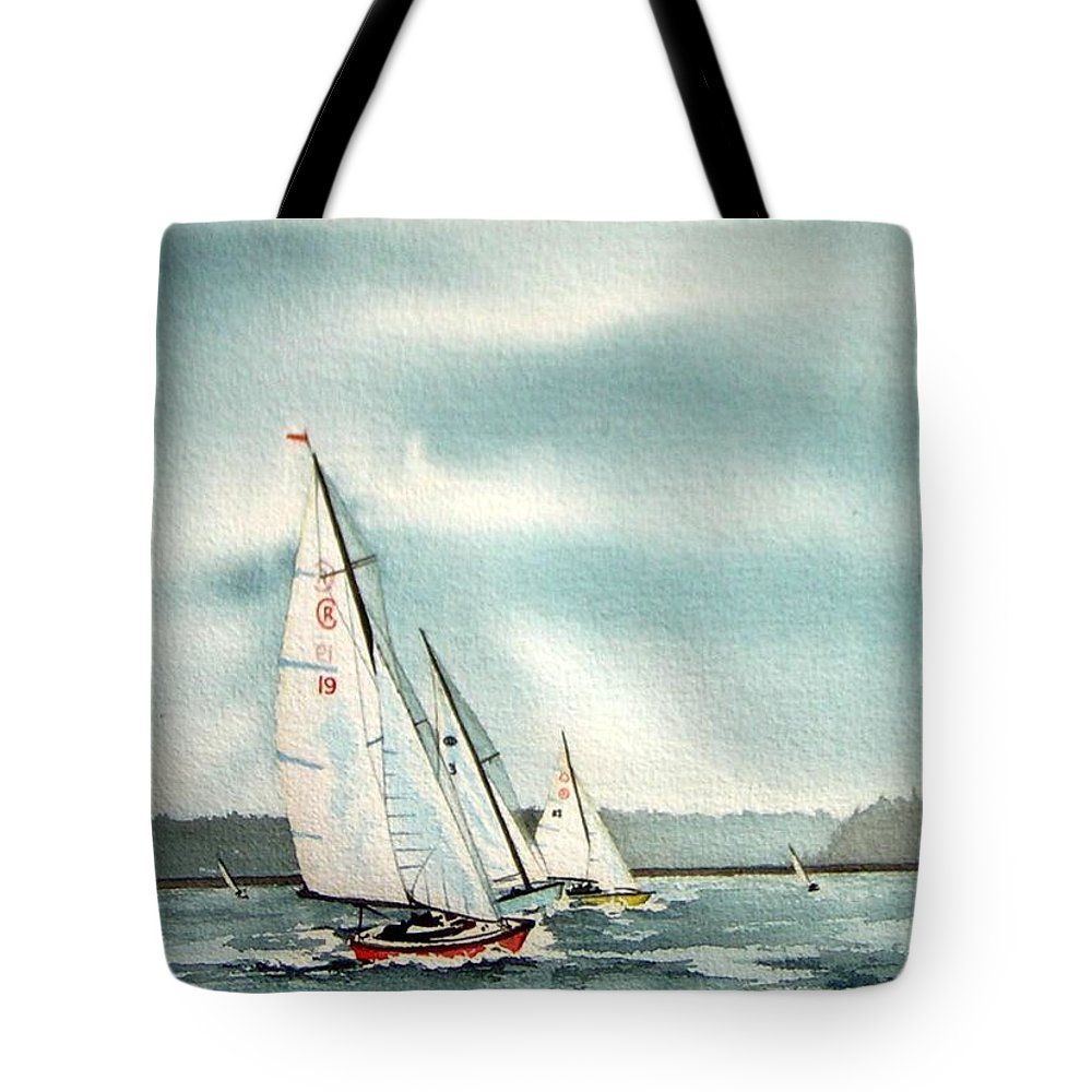 Sailing Tote Bag featuring the painting The Race by Gale Cochran-Smith