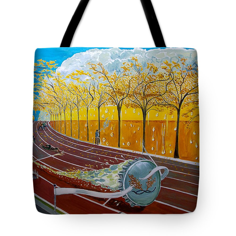 Surreal Tote Bag featuring the painting The Race Of Tumbles by Lazaro Hurtado