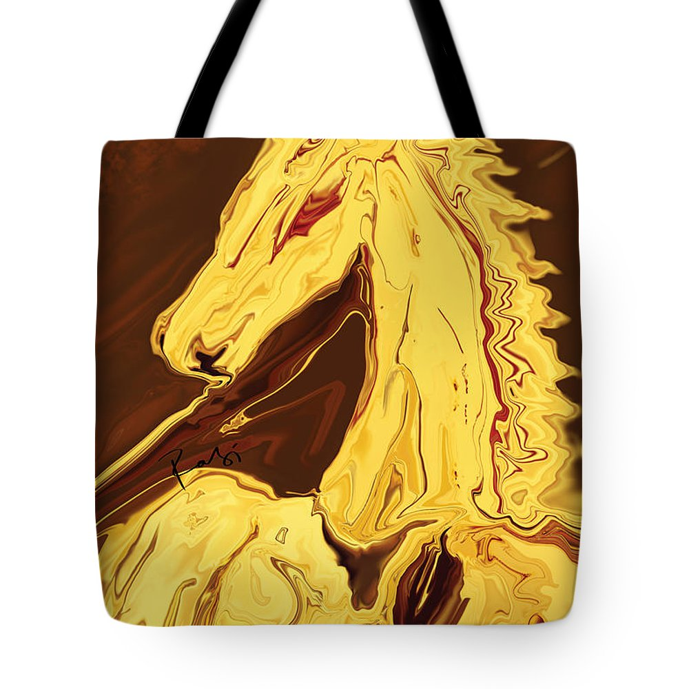 Brown Tote Bag featuring the digital art The Race by Rabi Khan