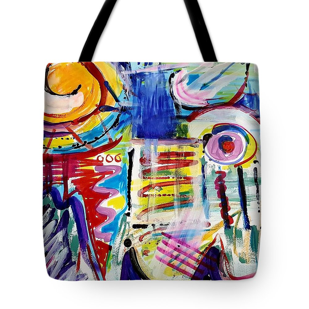 Abstract Art Tote Bag featuring the mixed media The Radio's On by Jane Renzi