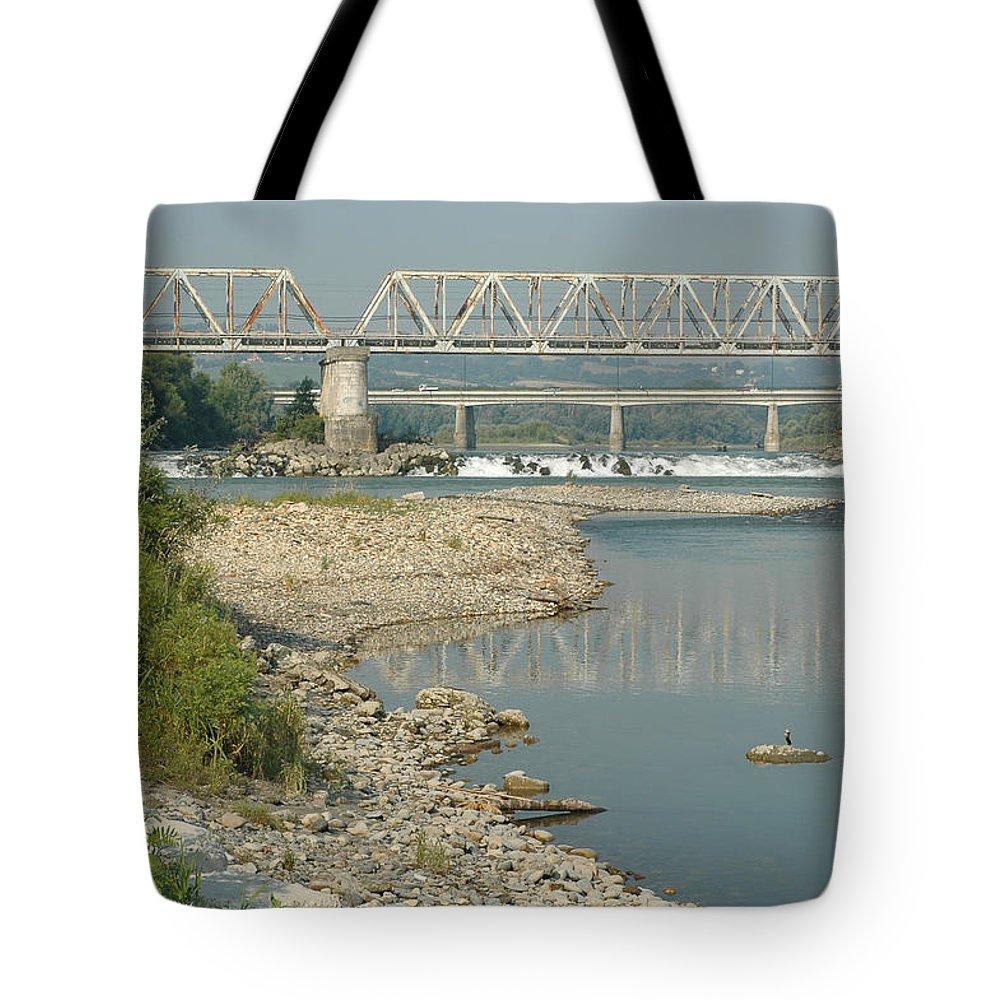 Bridge Tote Bag featuring the photograph The Railway Bridge by Guido Strambio