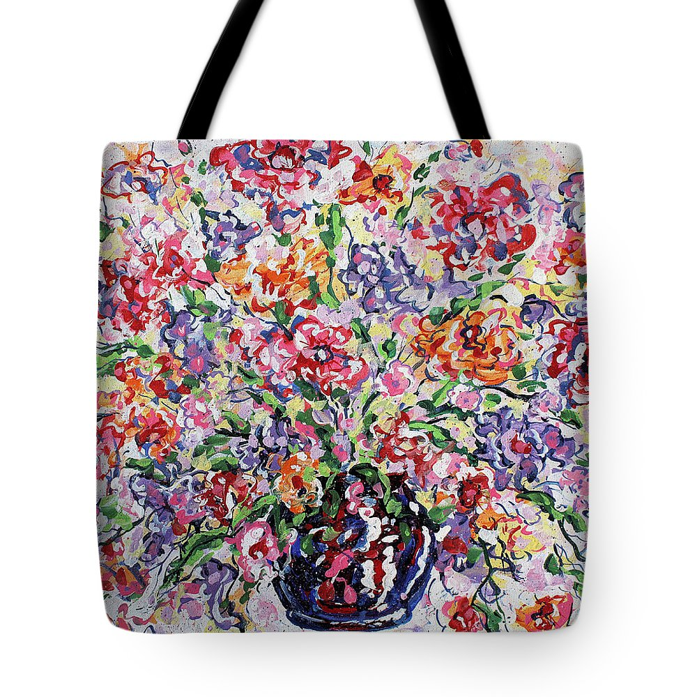 Flowers Tote Bag featuring the painting The Rainbow Flowers by Leonard Holland