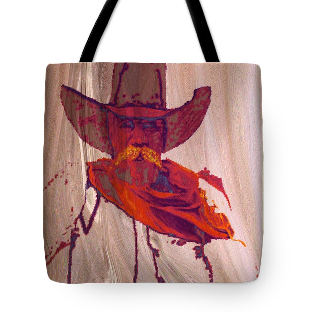 Cowboy Texas New Mexico Southwest Landscape Giclee Prints Tote Bag featuring the mixed media The Ram Rod by Donn Kay