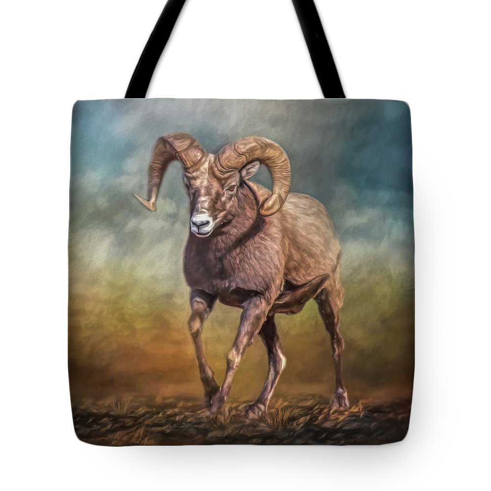 Sheep Tote Bag featuring the mixed media The Ram by Teresa Wilson