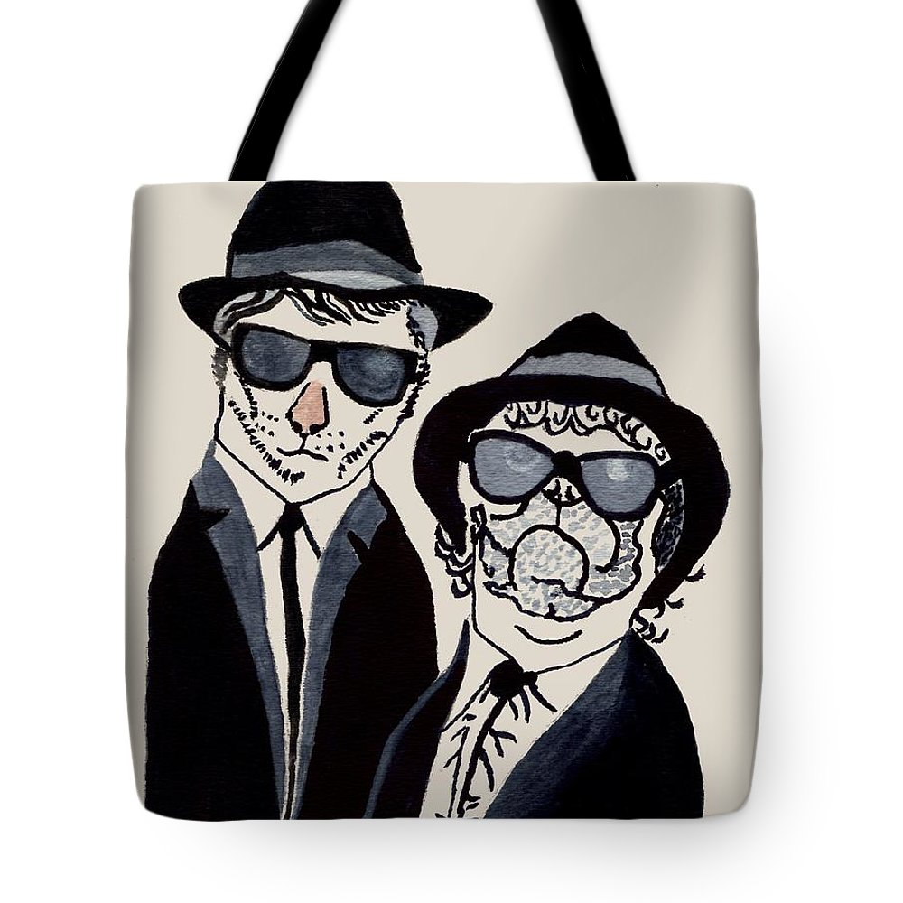 Blues Brothers Cat And Dog Tote Bag featuring the painting The Real Blues Brothers by Connie Valasco