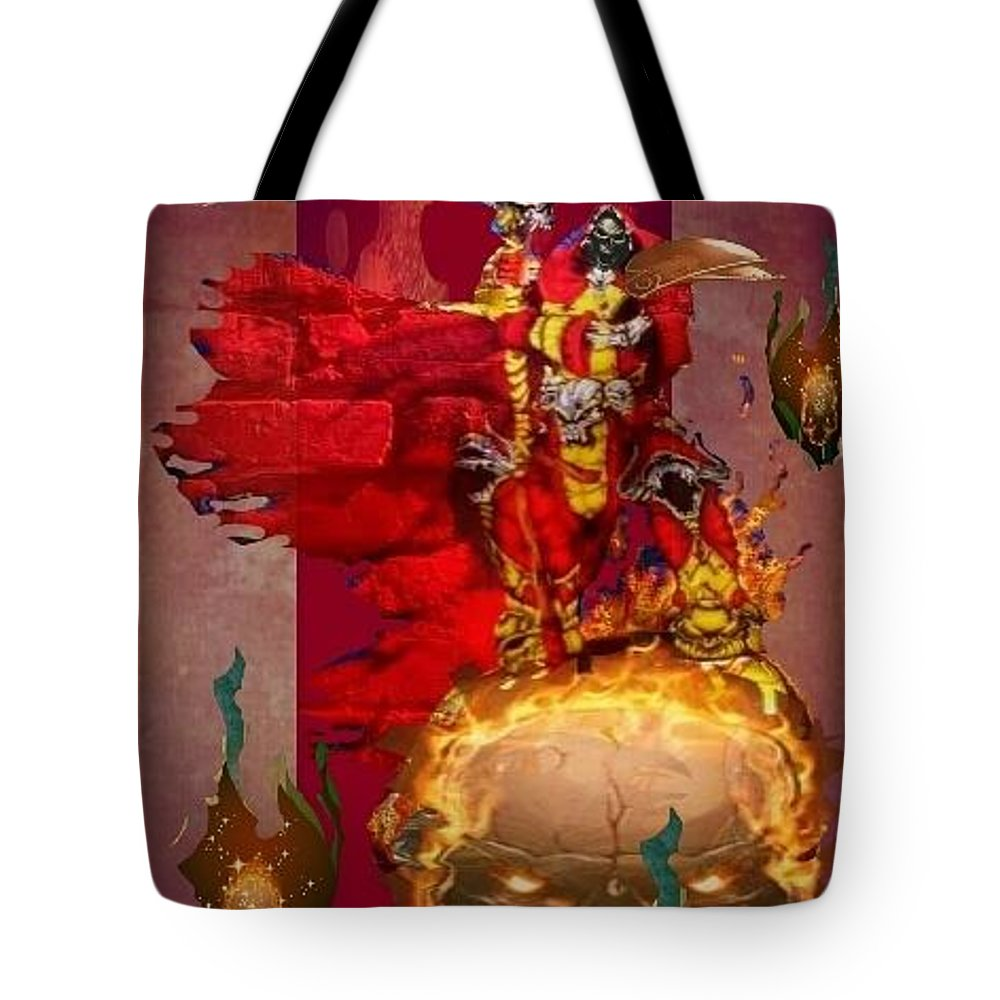 Fantasy Landscape Tote Bag featuring the drawing The Reaper by Louis Williams