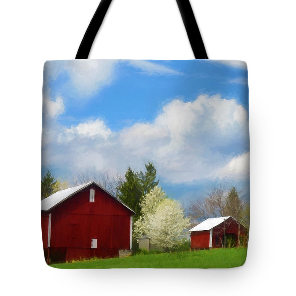 Red Barn Tote Bag featuring the photograph The Red Barn by Kathy Russell