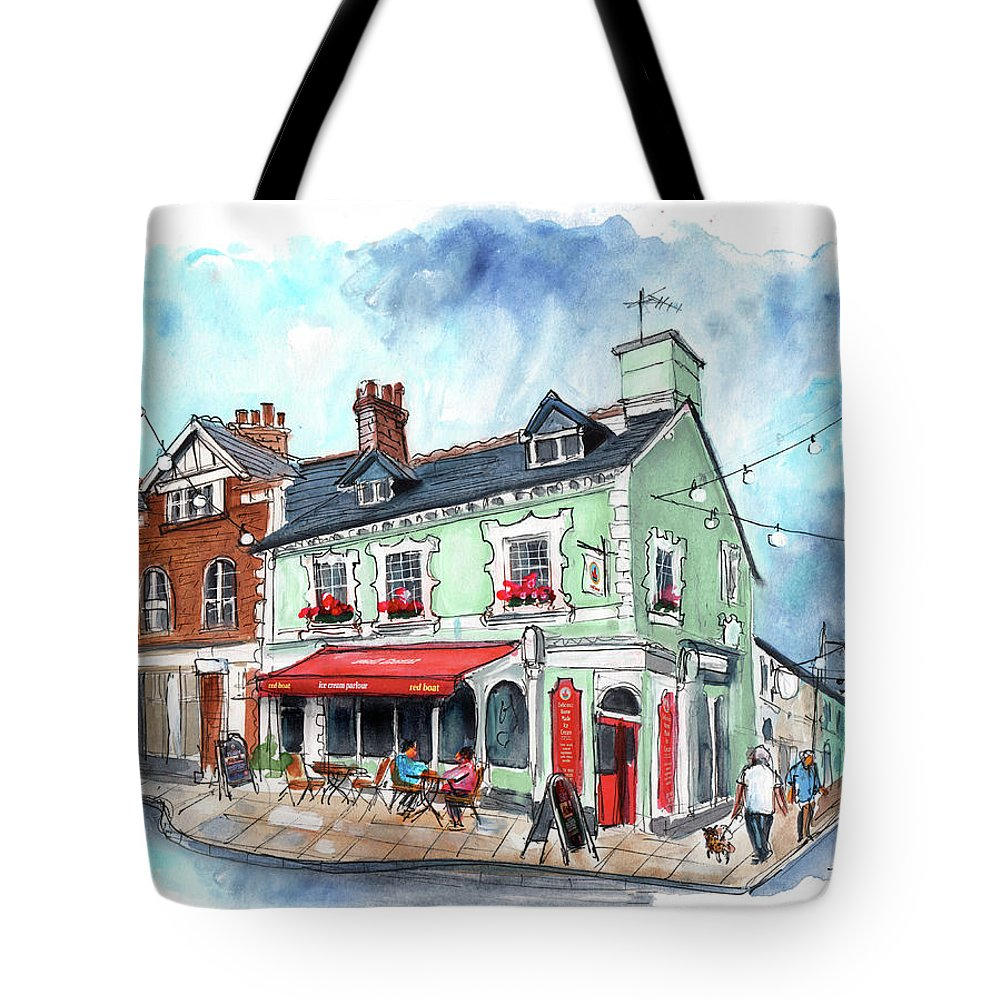 Travel Tote Bag featuring the painting The Red Boat In Beaumaris by Miki De Goodaboom
