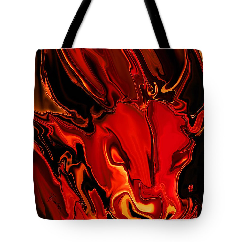 Animals Tote Bag featuring the digital art The Red Bull by Rabi Khan