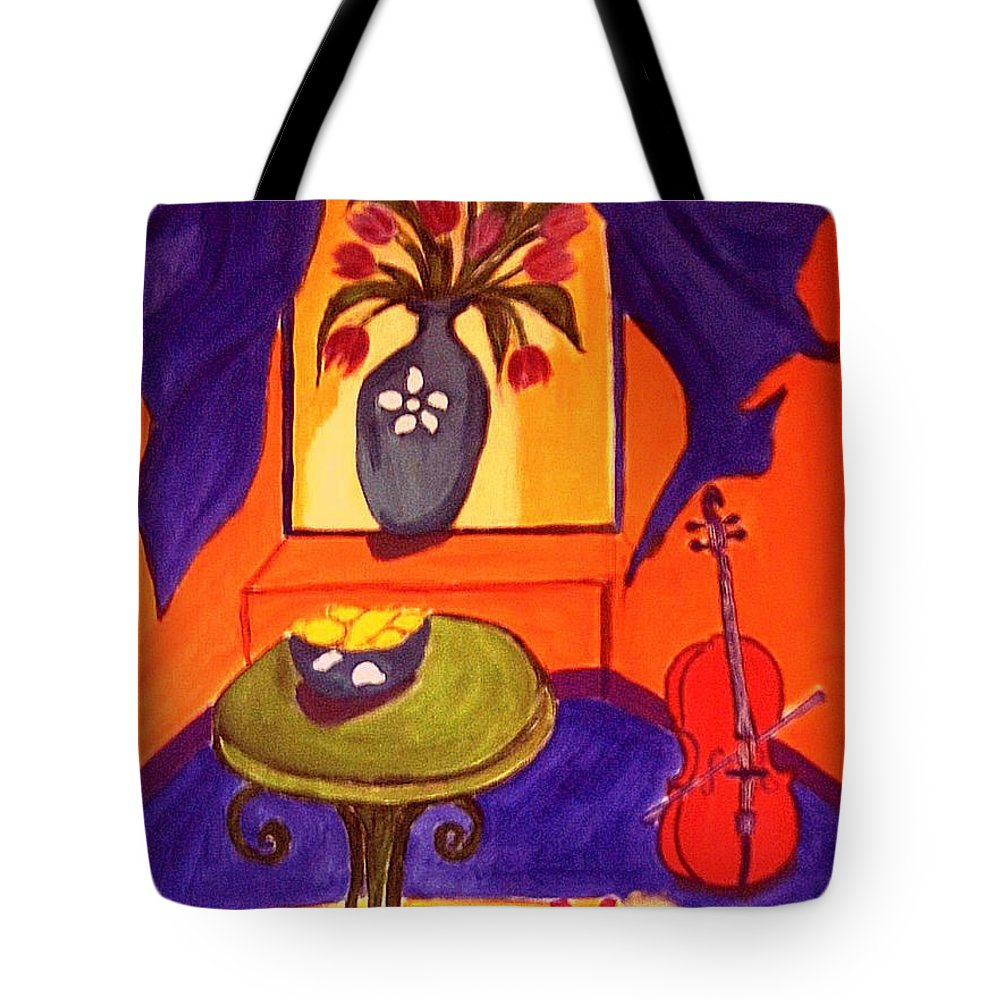 Cello Tote Bag featuring the painting The Red Cello by Rusty Gladdish