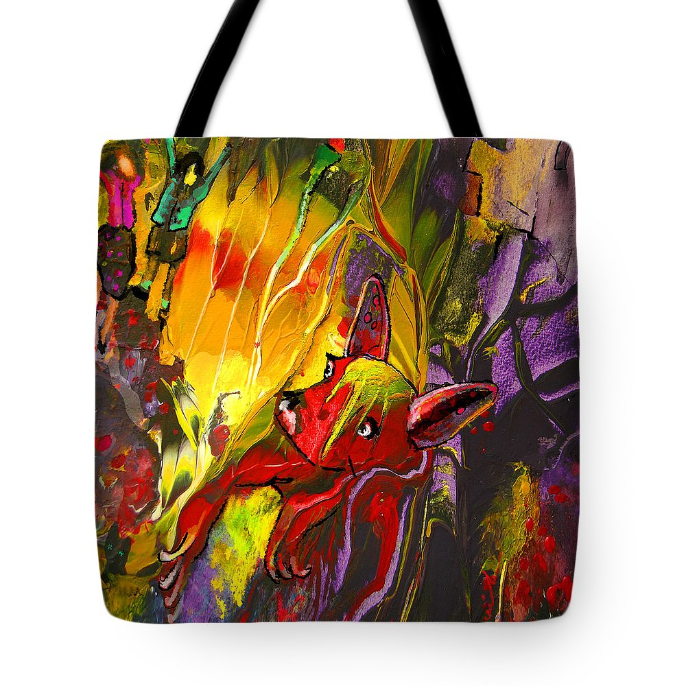 Fantasy Tote Bag featuring the painting The Red Dog by Miki De Goodaboom