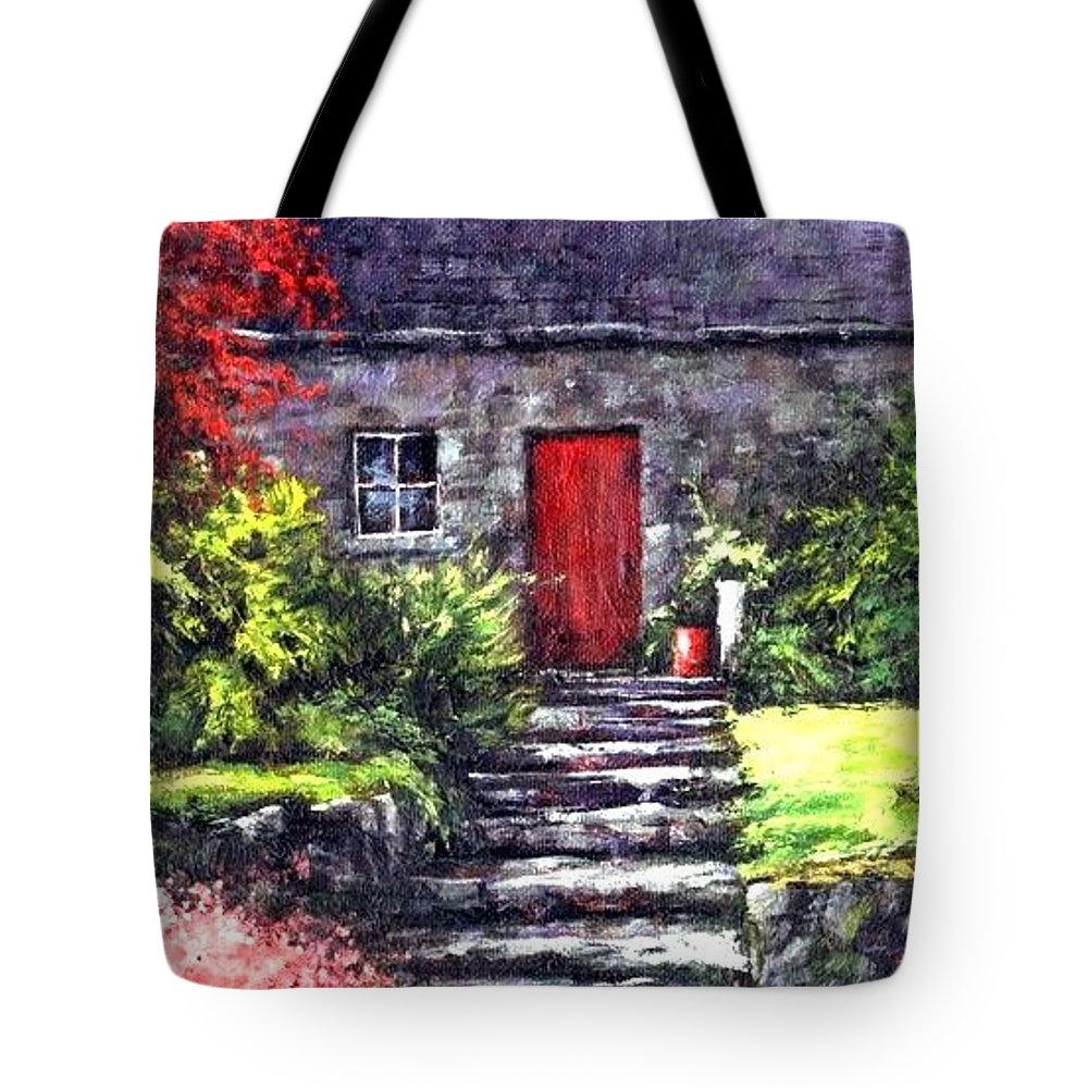 Ireland Tote Bag featuring the painting The Red Door by Jim Gola