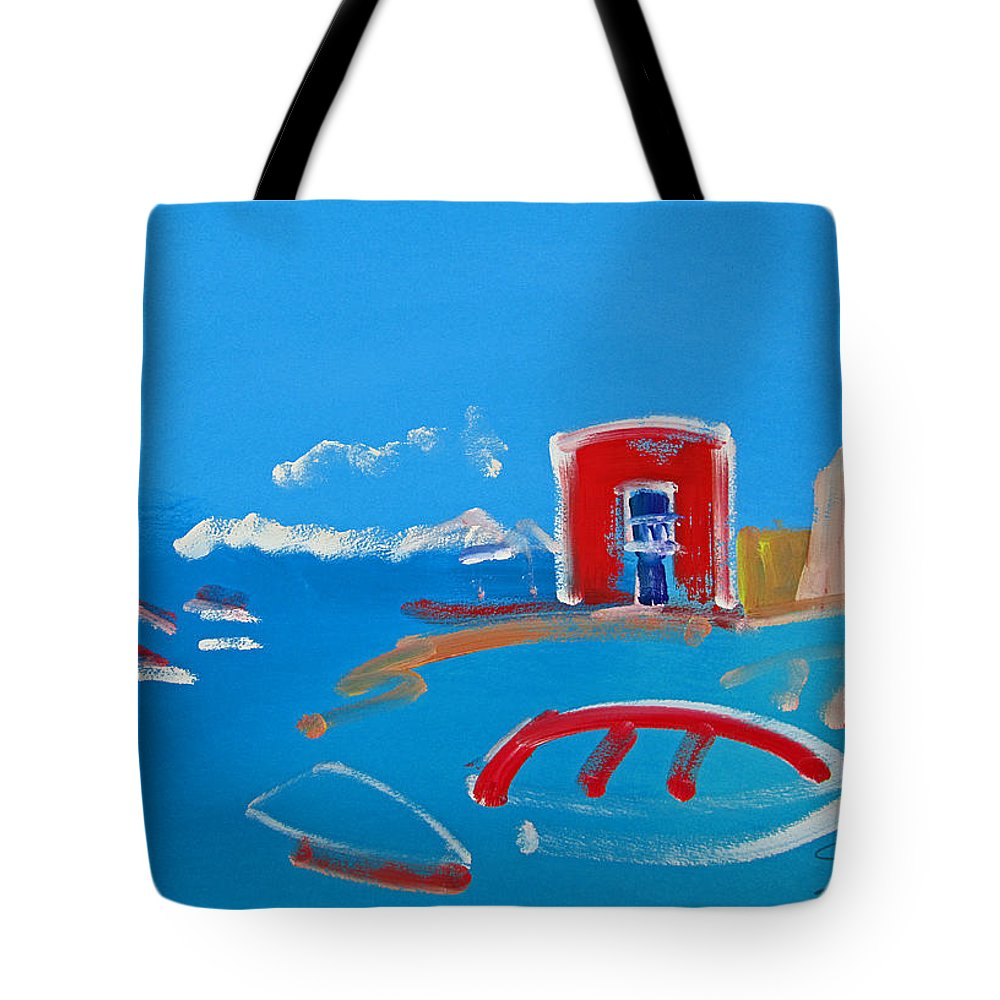 Puerto Tote Bag featuring the painting The Red House La Casa Roja by Charles Stuart