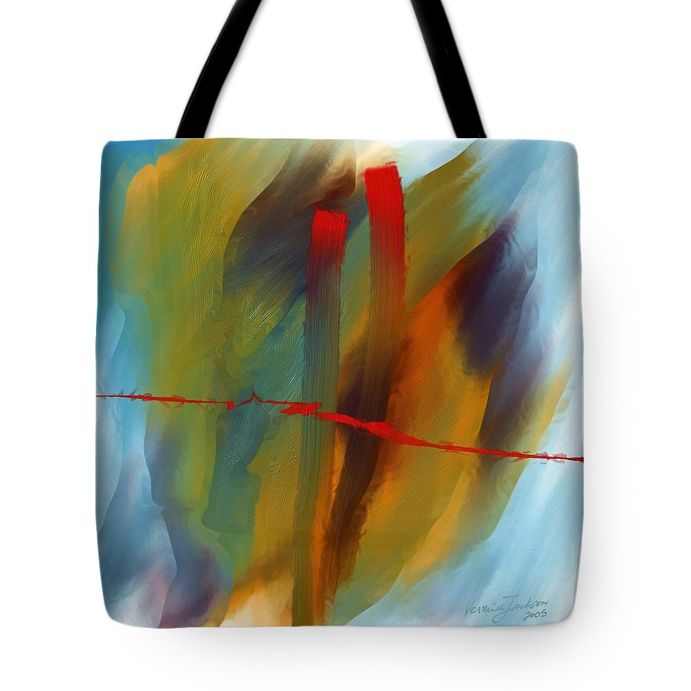 Red Abstract Lines Soft Moves Air Water Tote Bag featuring the digital art The Red Line by Veronica Jackson