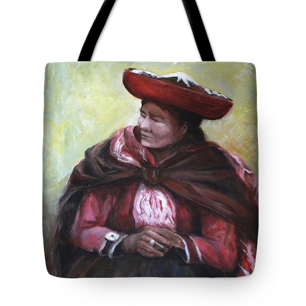 Peru Tote Bag featuring the painting The Red Shawl by Jun Jamosmos