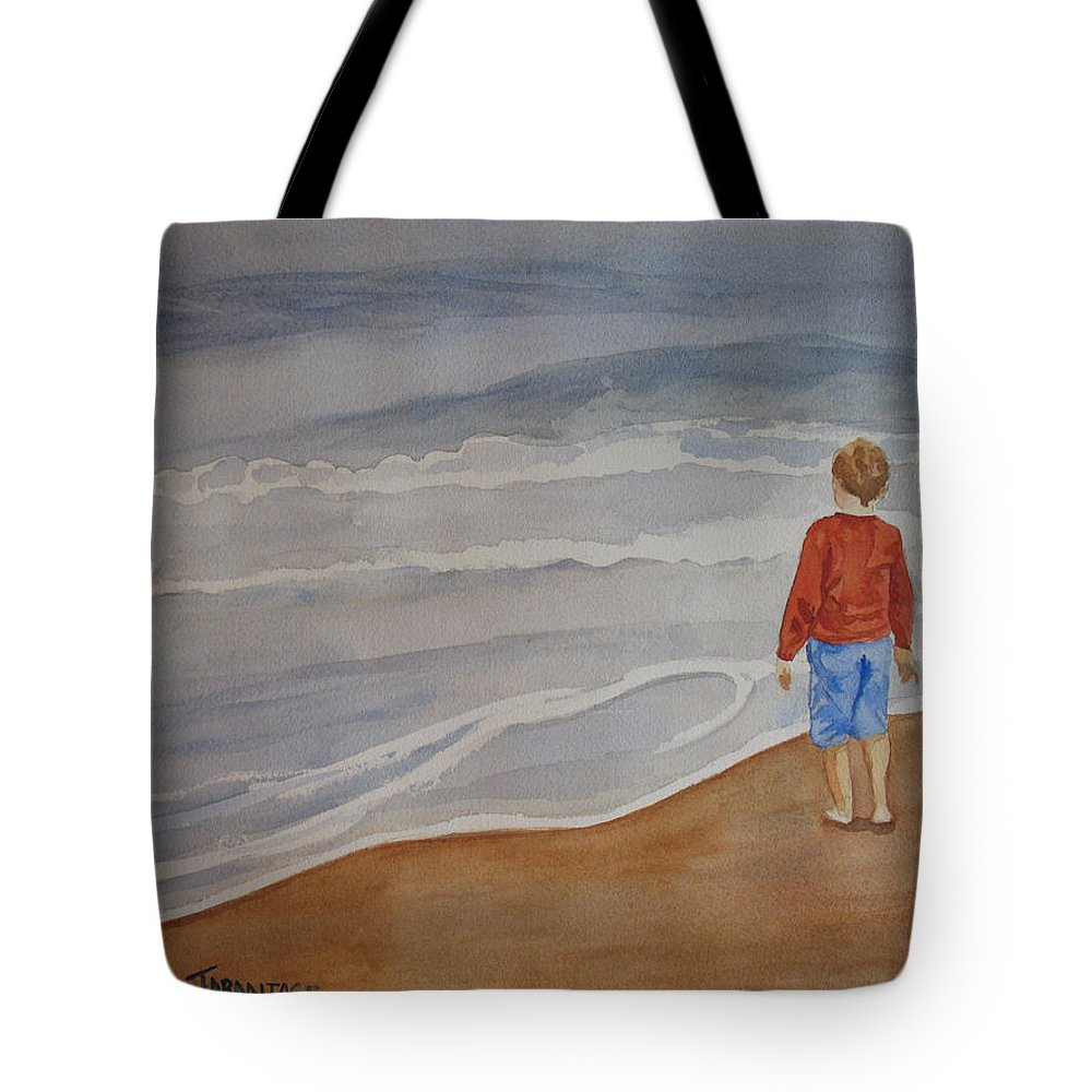 Boy Tote Bag featuring the painting The Red Shirt by Jenny Armitage