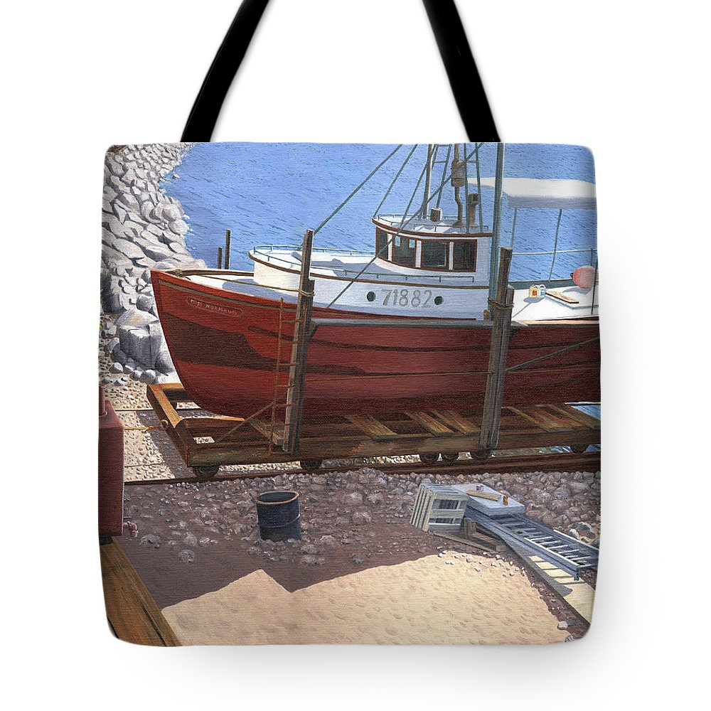 Fishing Boat Tote Bag featuring the painting The Red Troller by Gary Giacomelli