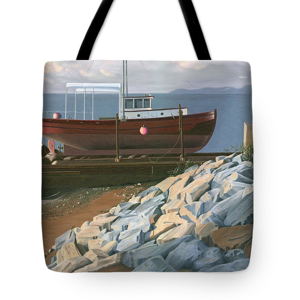 Ship Tote Bag featuring the painting The Red Troller Revisited by Gary Giacomelli