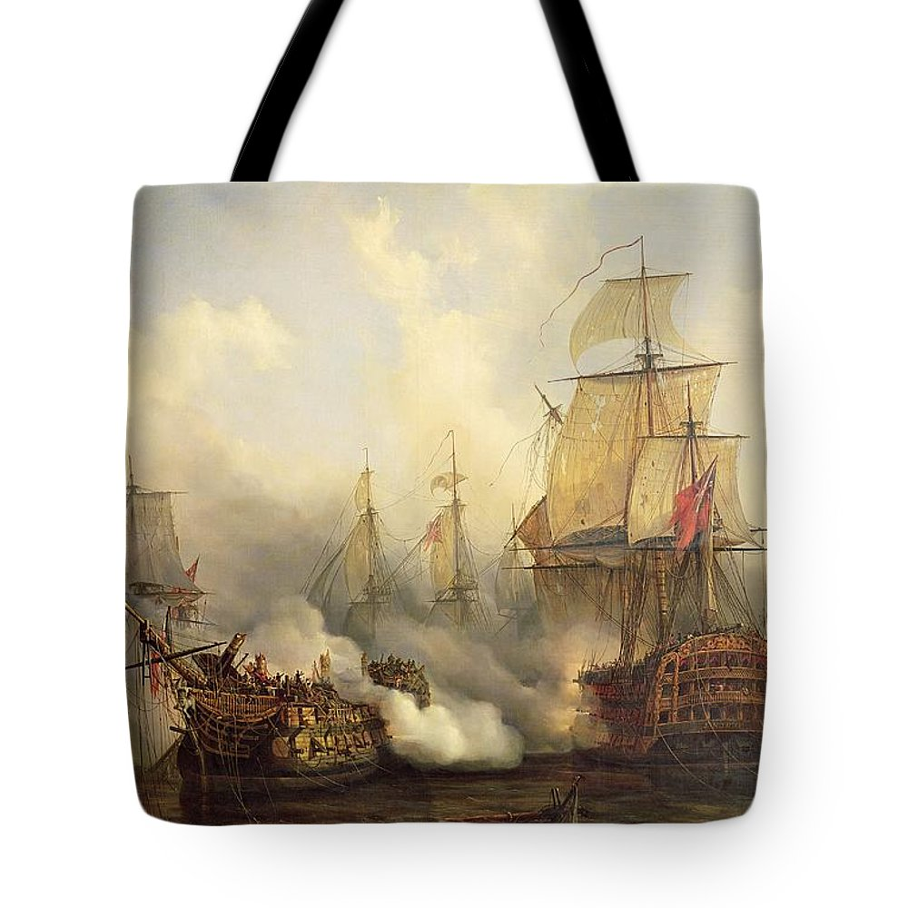 The Tote Bag featuring the painting Unknown Title Sea Battle by Auguste Etienne Francois Mayer