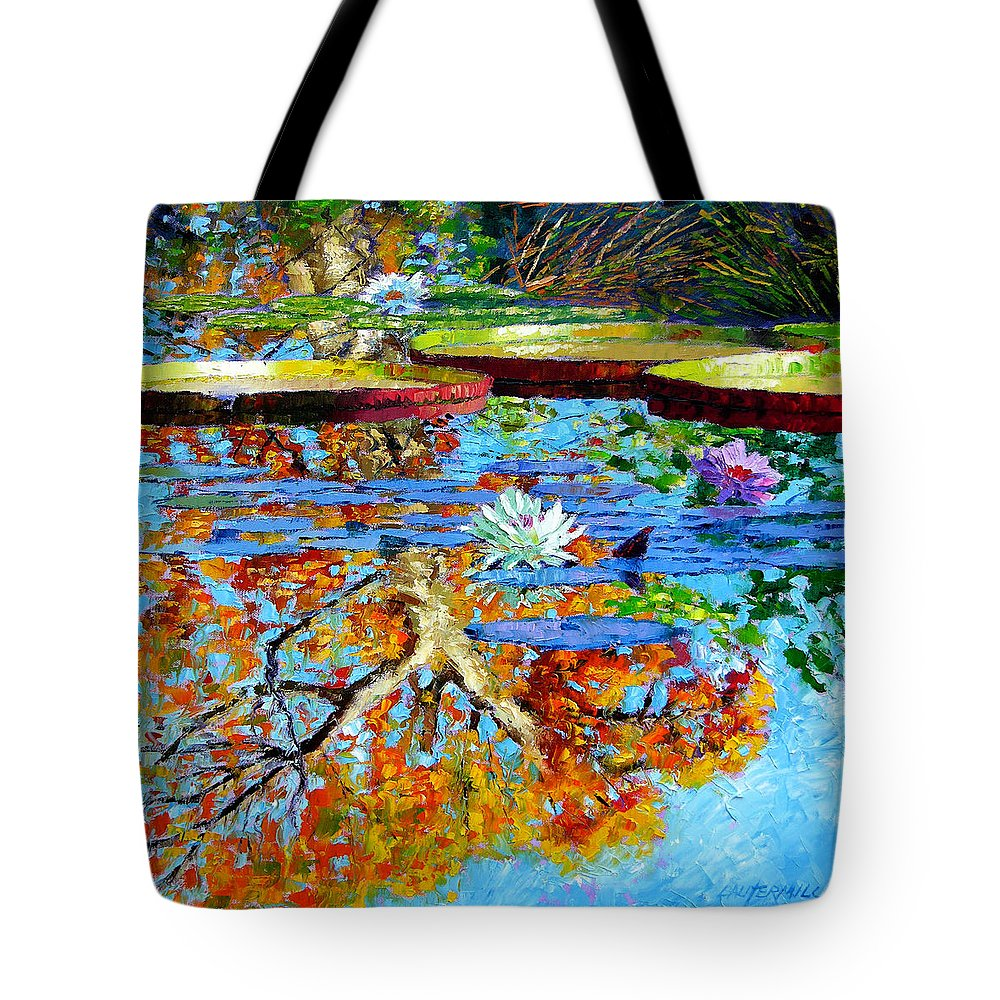 Fall Tote Bag featuring the painting The Reflections Of Fall by John Lautermilch