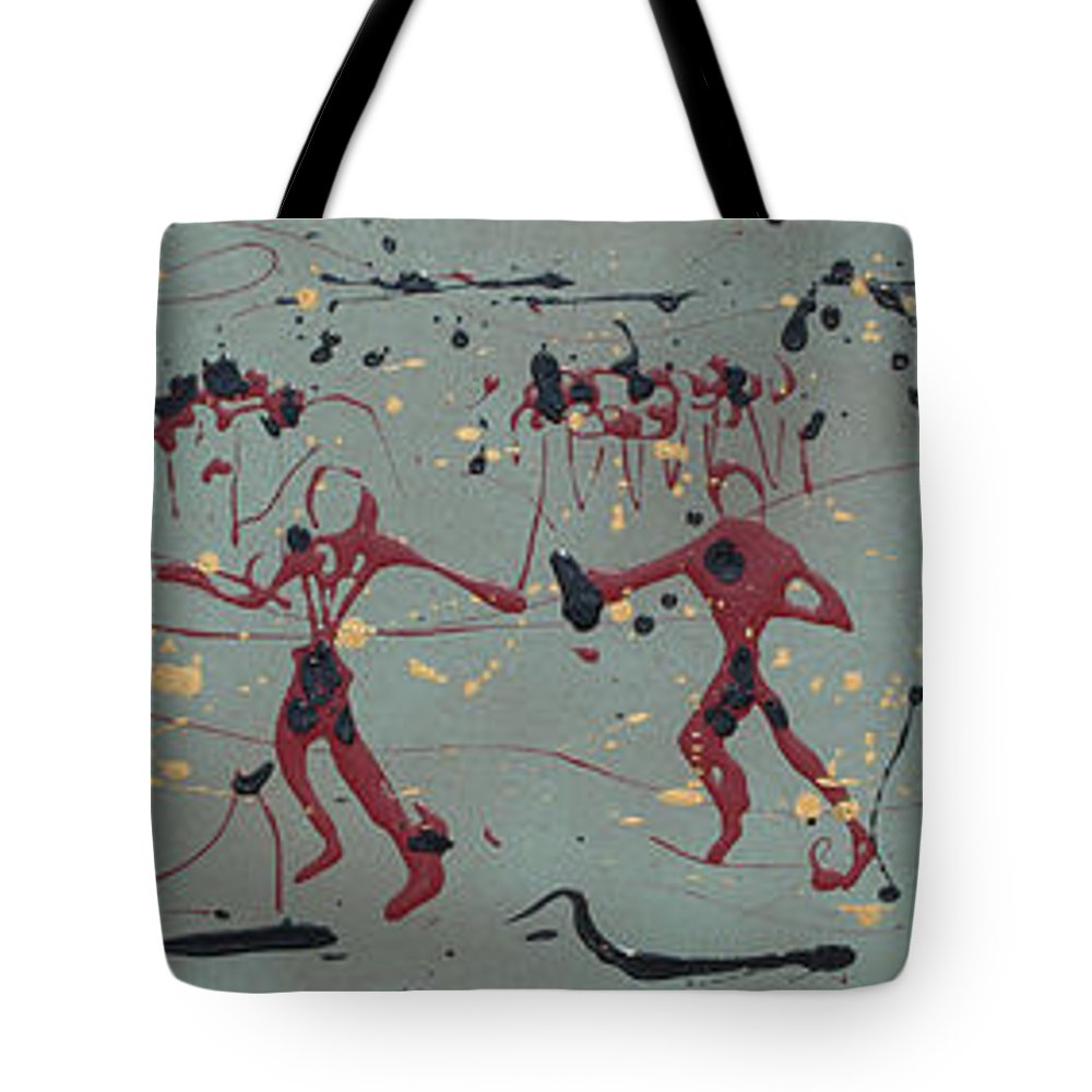Abstract Art Tote Bag featuring the painting The Relay Race by J R Seymour