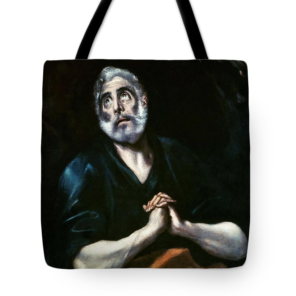 The Repentant Peter El Greco Tote Bag featuring the digital art The Repentant Peter El Greco by Eloisa Mannion