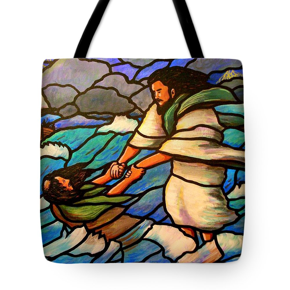 Jesus Tote Bag featuring the painting The Rescue by Jim Harris