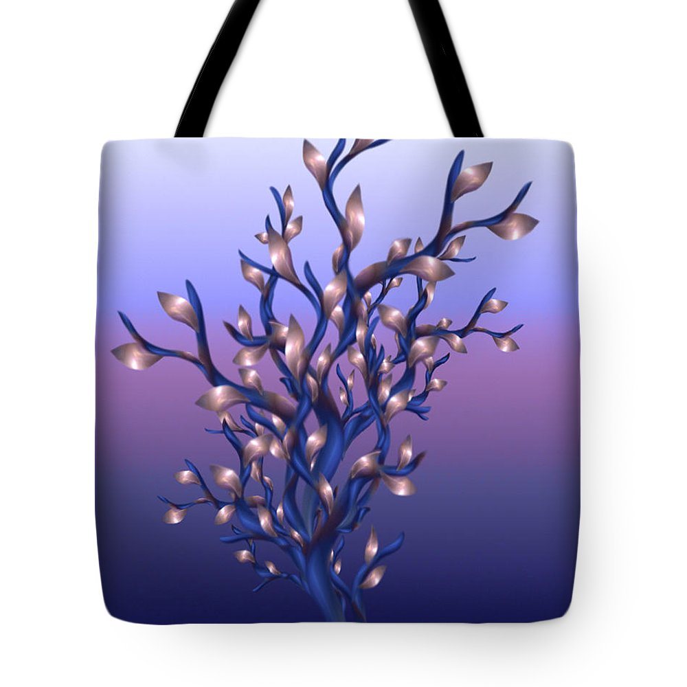 Resolutions Tote Bag featuring the digital art The Resolutions Tree At Dawn by Giada Rossi
