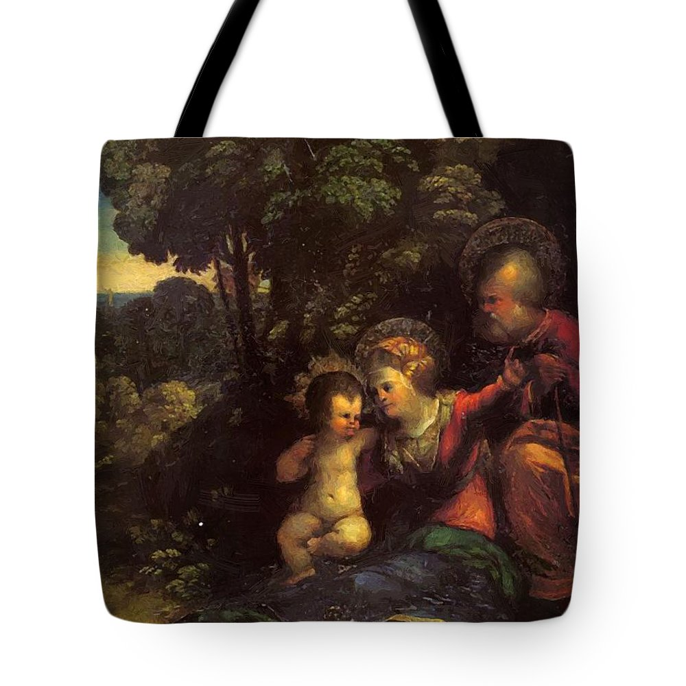 The Tote Bag featuring the painting The Rest On The Flight Into Egypt by Dossi Dosso