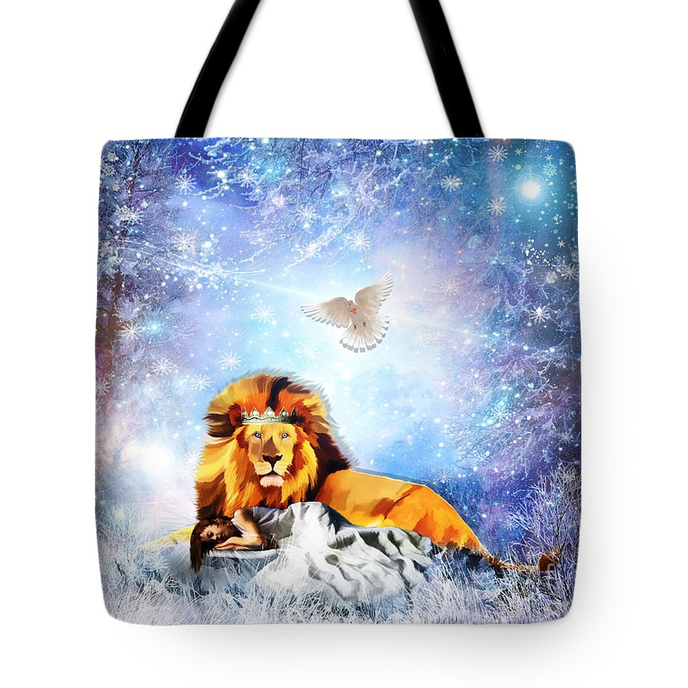 Lion Of Judah Tote Bag featuring the digital art The Resting Place by Dolores Develde