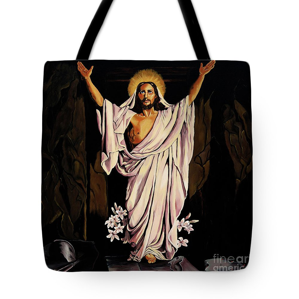 Religious Tote Bag featuring the painting The Resurrection by Milagros Palmieri