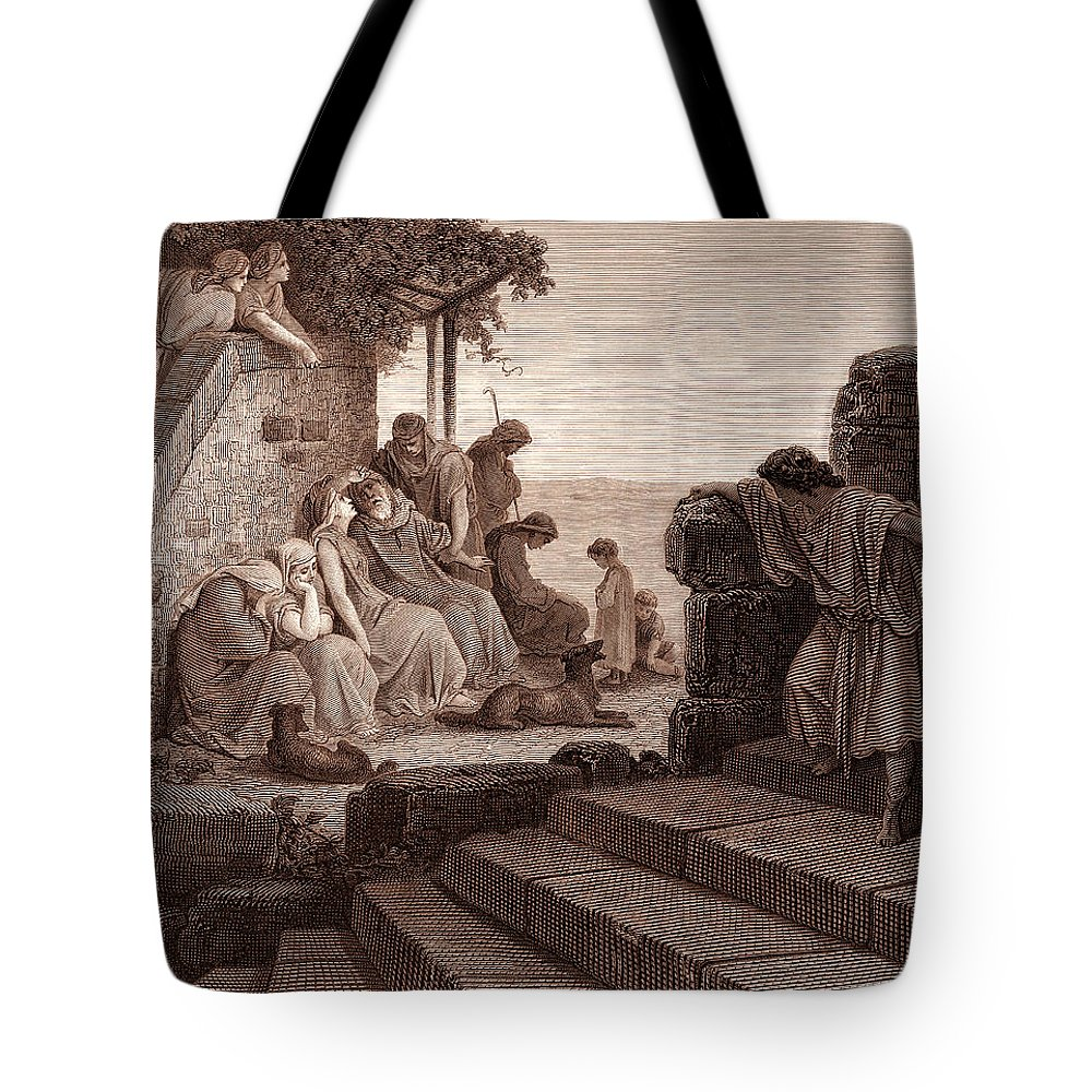 Prodigal Tote Bag featuring the drawing The Return Of The Prodigal Son by Gustave Dore