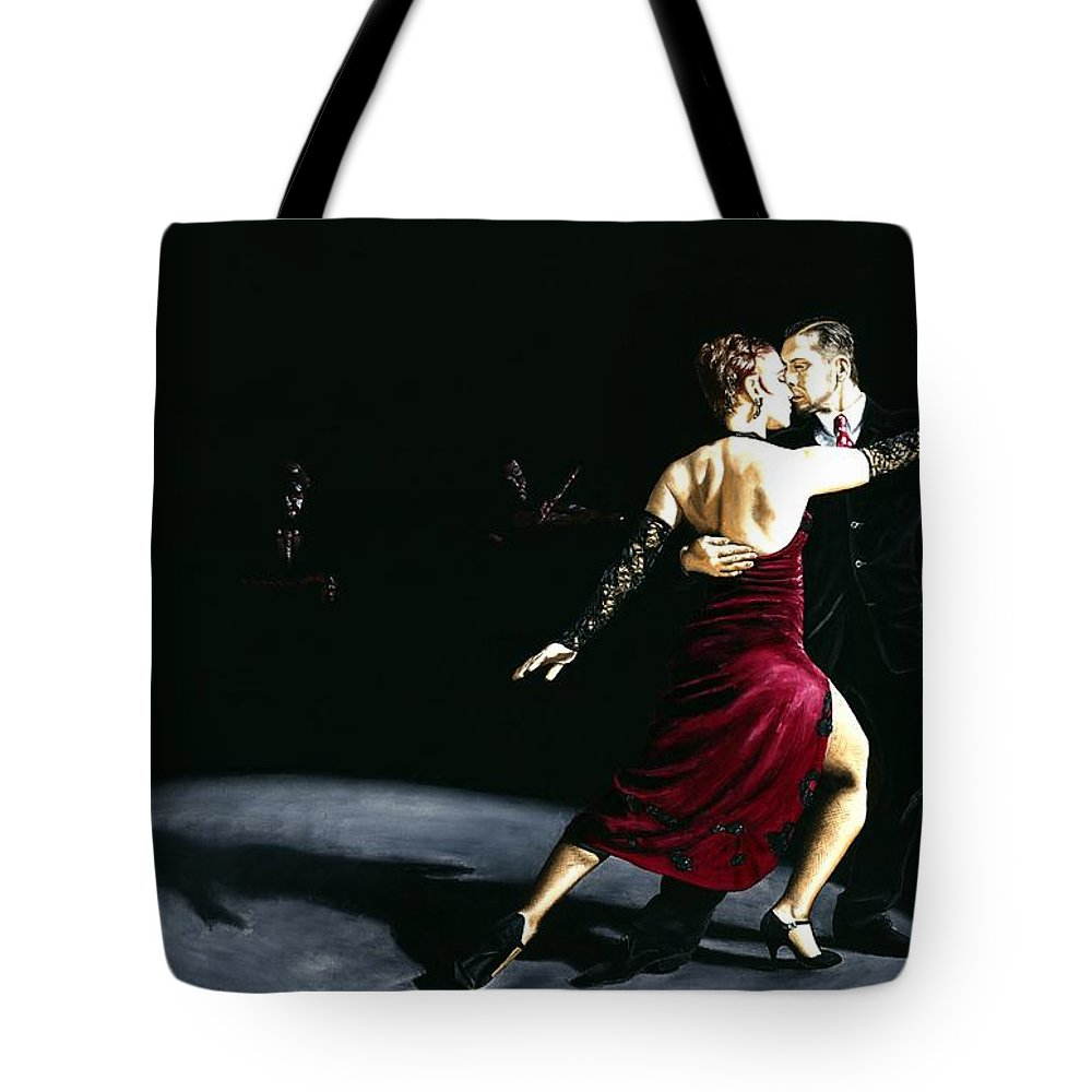 Tango Tote Bag featuring the painting The Rhythm Of Tango by Richard Young