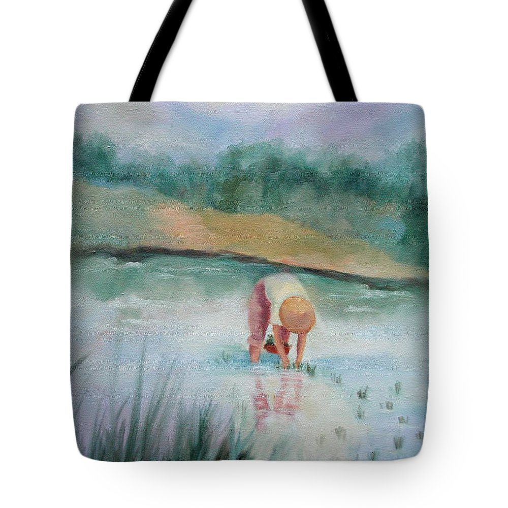 Figurative Tote Bag featuring the painting The Rice Planter by Ginger Concepcion
