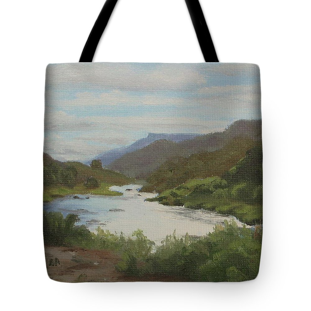 Landscape Tote Bag featuring the painting The Rio Grande Between Taos And Santa Fe by Lea Novak