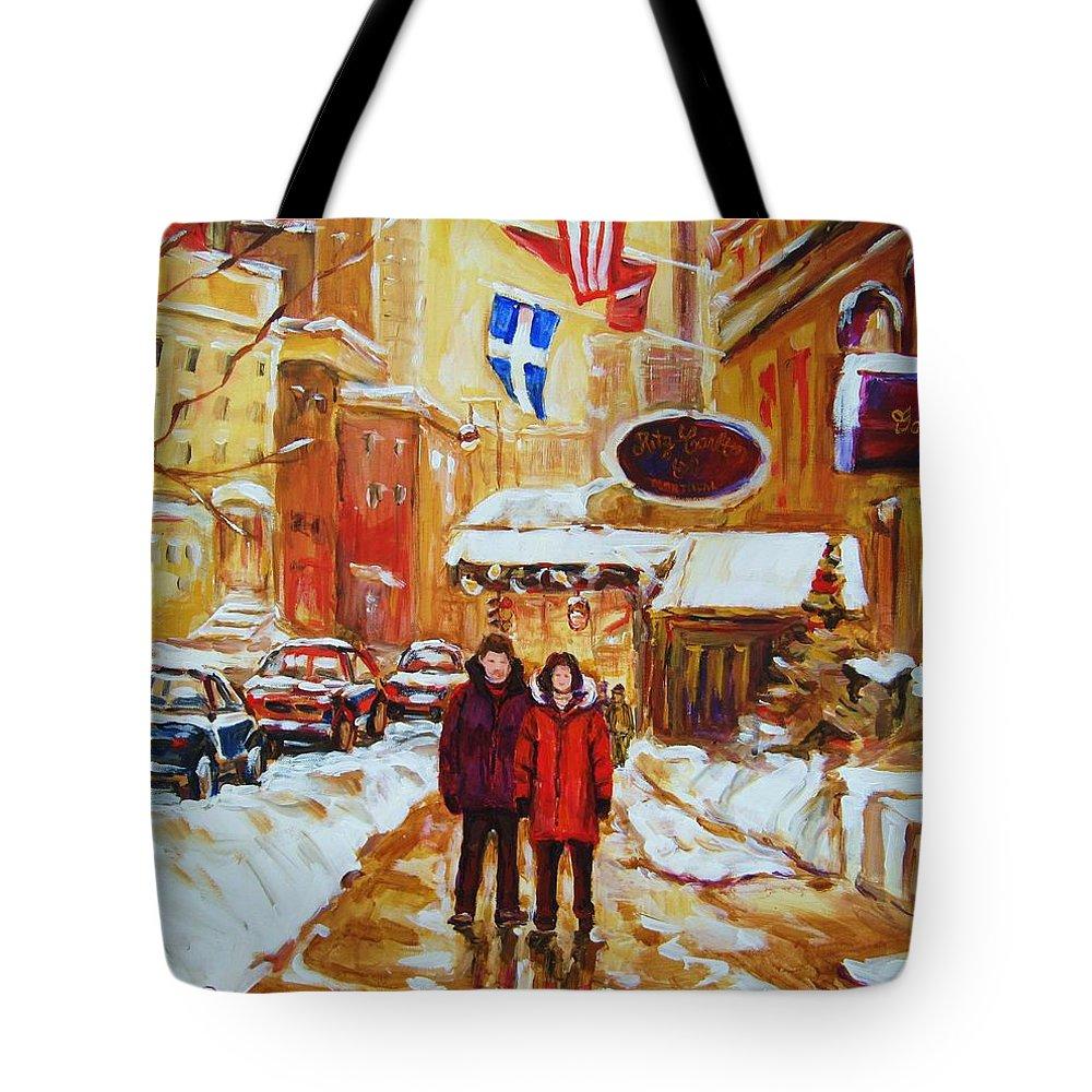 Streetscene Tote Bag featuring the painting The Ritz Carlton by Carole Spandau