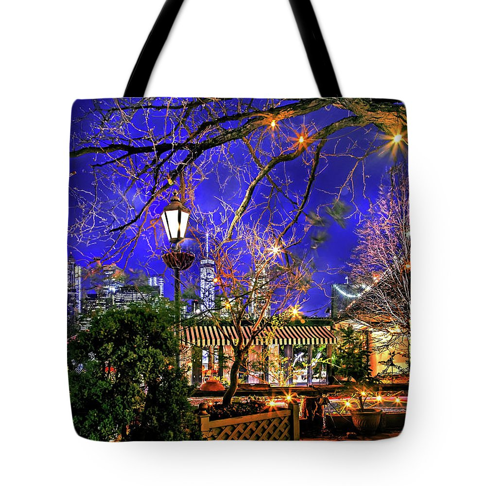 Brooklyn Bridge Tote Bag featuring the photograph The River Cafe by Az Jackson