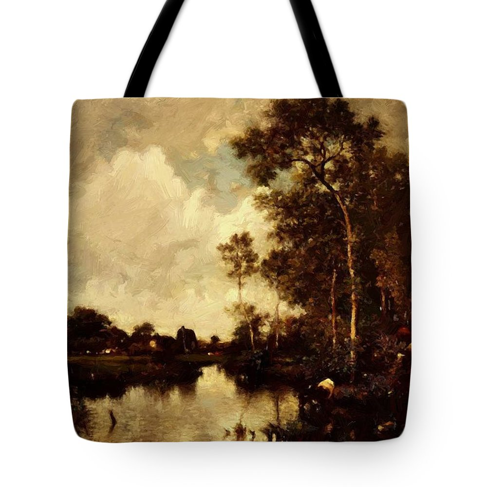 The Tote Bag featuring the painting The River by Dupre Jules