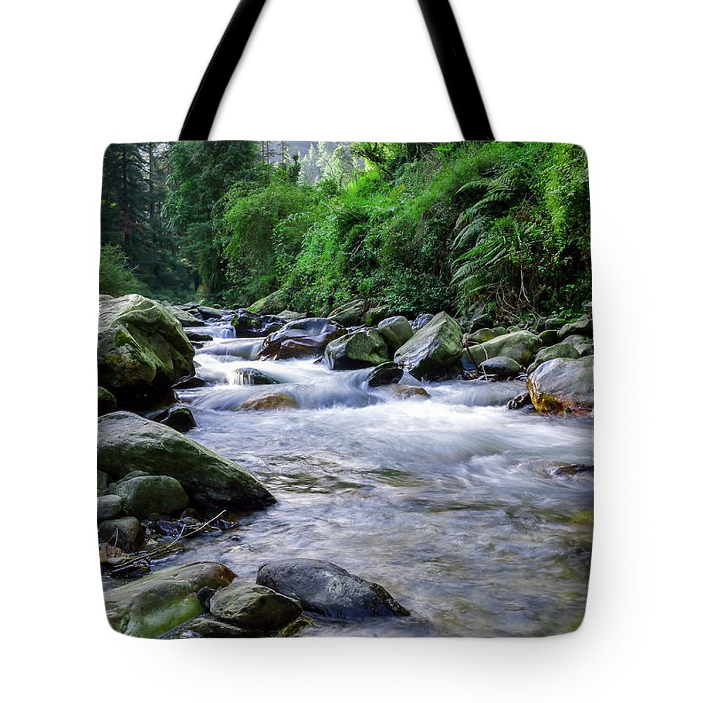 Landscape Tote Bag featuring the photograph The River Sings by Debjit Sen