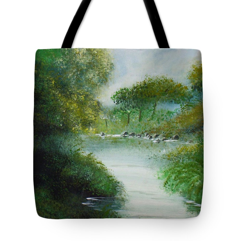 River Water Trees Clouds Leaves Nature Green Tote Bag featuring the painting The River by Veronica Jackson