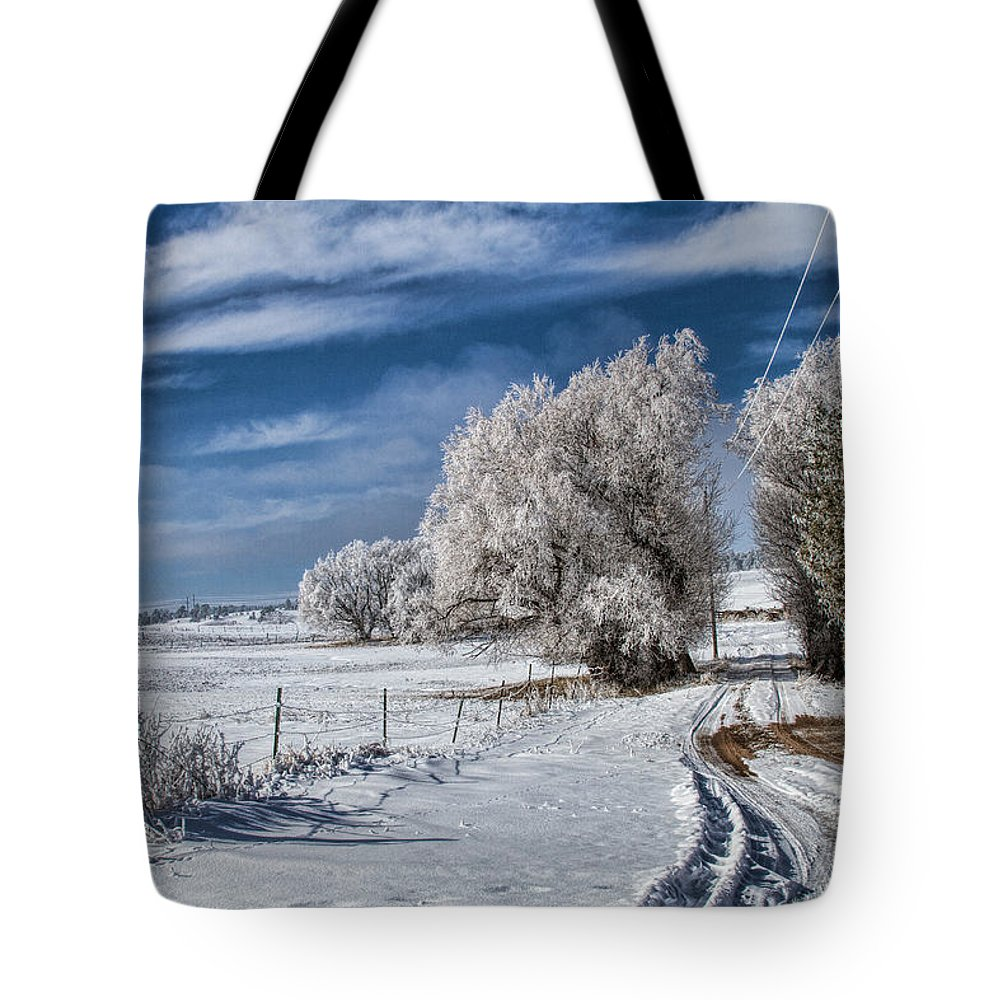 Winter Tote Bag featuring the photograph The Road Home by Alana Thrower