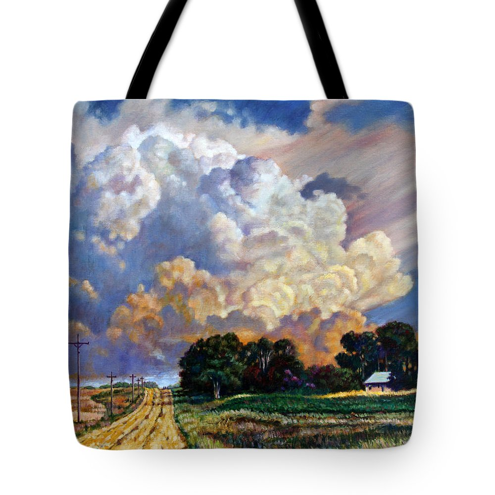 Landscape Tote Bag featuring the painting The Road Home by John Lautermilch