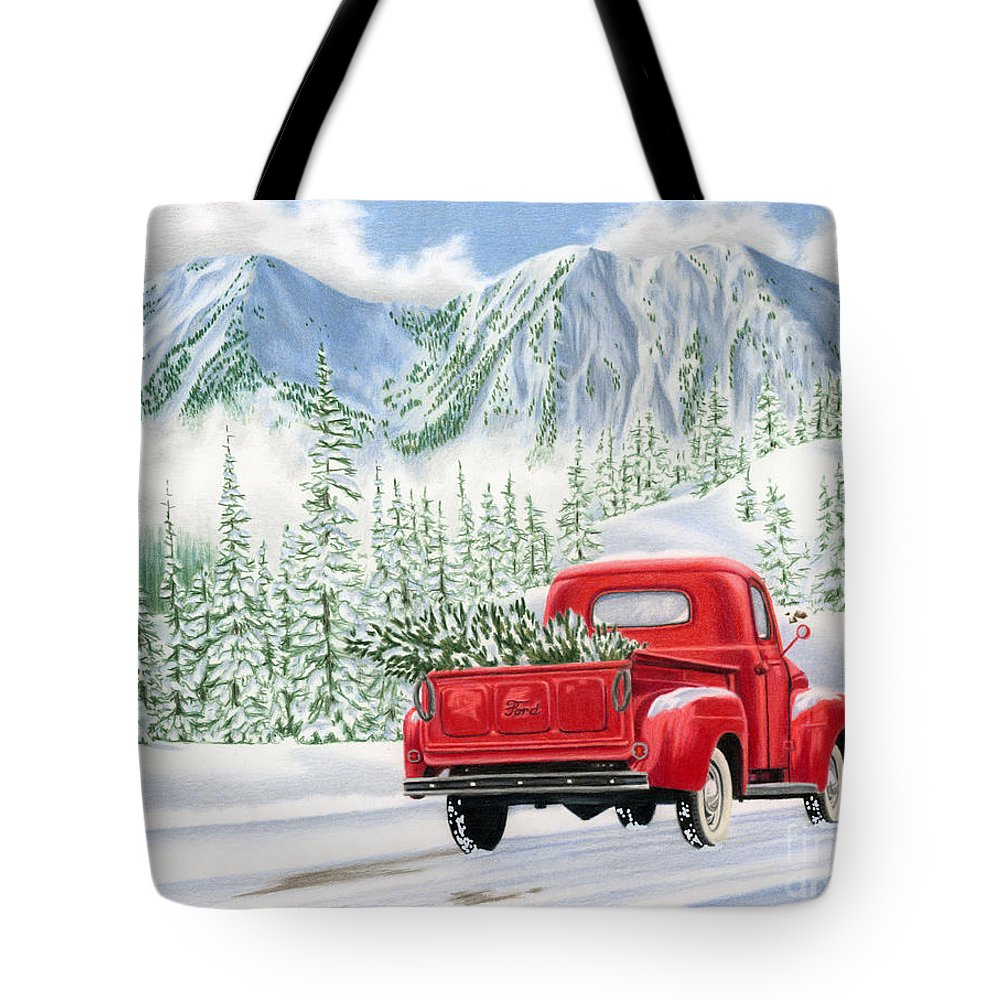 Christmas Truck Tote Bag featuring the painting The Road Home by Sarah Batalka