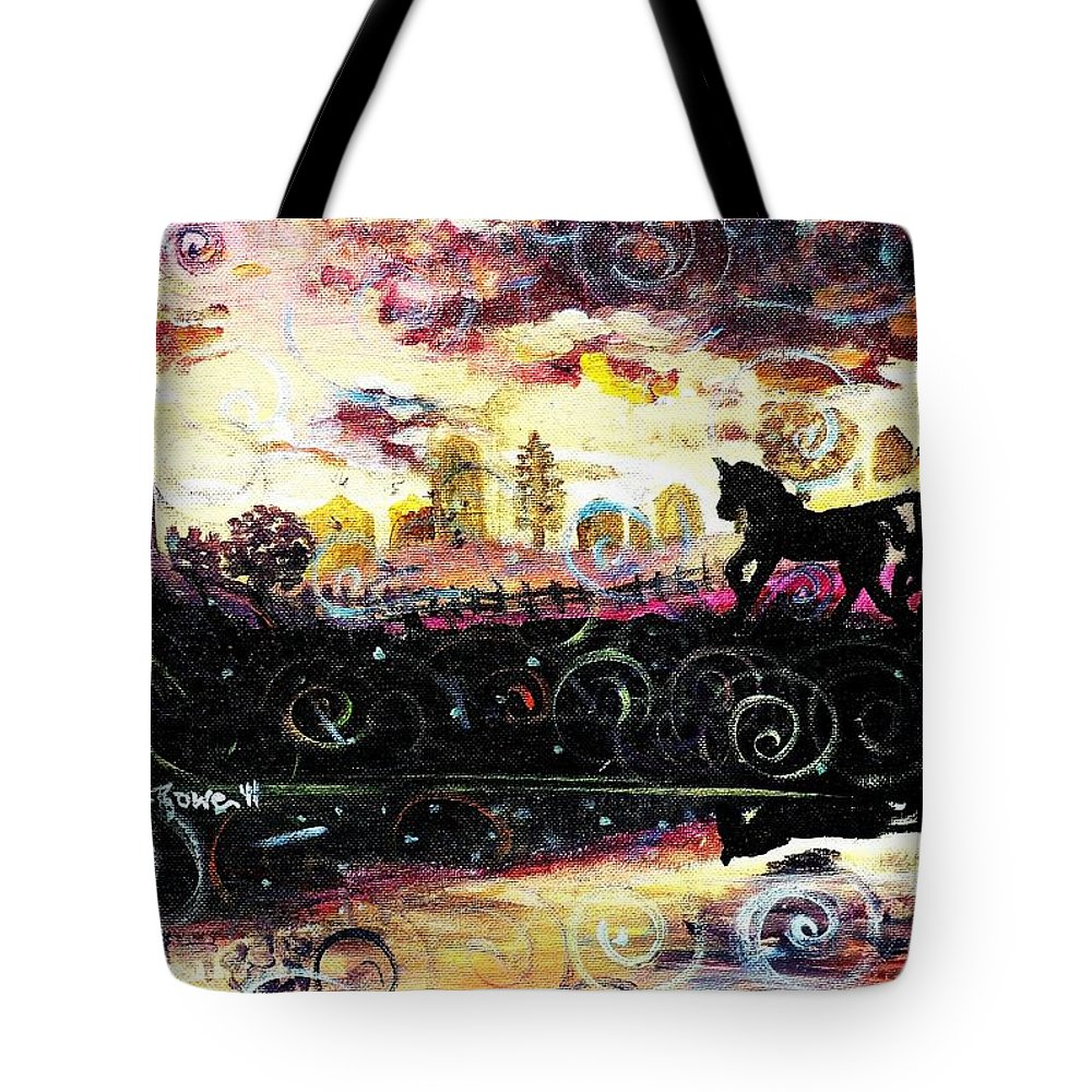 Horse And Buggy Tote Bag featuring the painting The Road To Home by Shana Rowe Jackson
