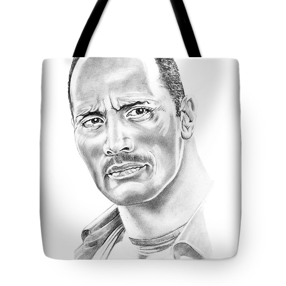 Pencil Tote Bag featuring the drawing The Roc  Dwain Johnson by Murphy Elliott