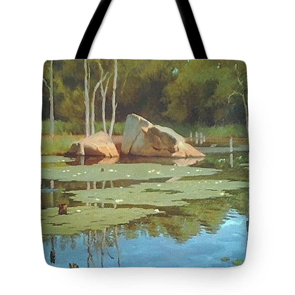 Landscape Tote Bag featuring the painting The Rock by Dianne Panarelli Miller